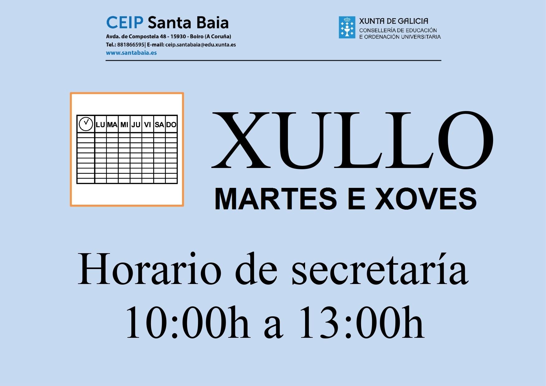 Calendario Escolar Xunta.Secretaria Colexio Santa Baia